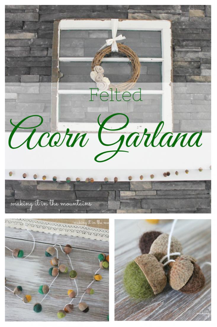 DIY Felted Acorn Garland :: making it in the mountains #feltacorns #DIYacorns #falldecor