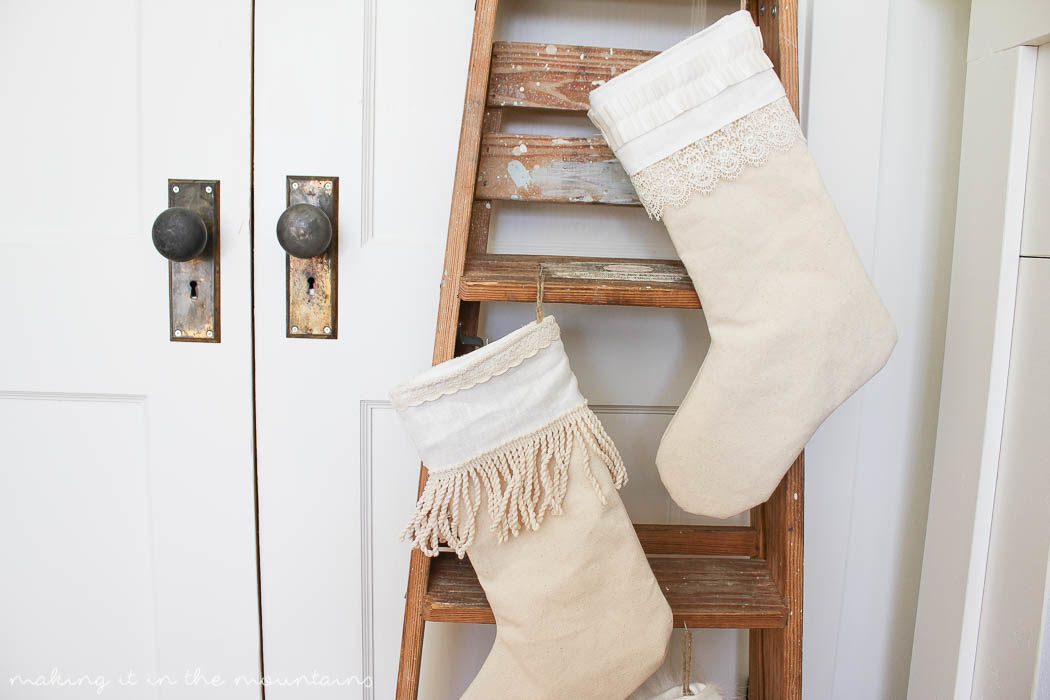 how to make your own farmhouse style christmas stockings making it in the mountains
