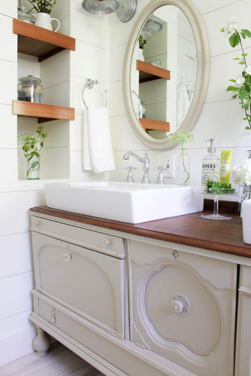 How To Transform A Vintage Buffet Into A Diy Bathroom Vanity Making It In The Mountains